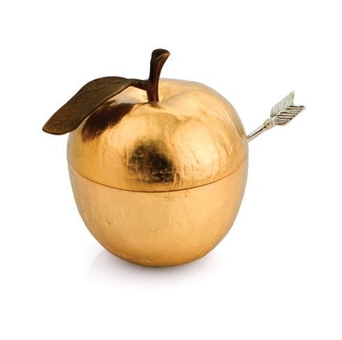 $95.00 Apple Honey Pot w/ Spoon Goldtone