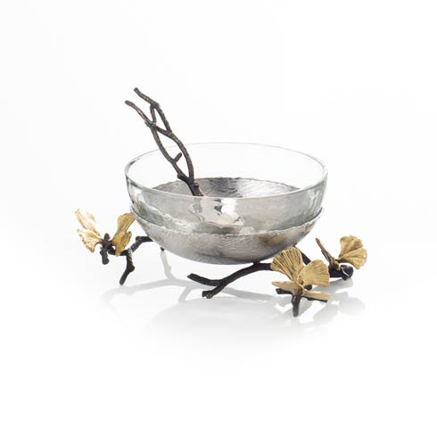 $175.00 Glass Nut Dish with Spoon