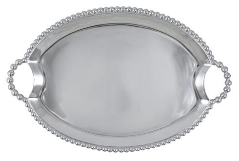 $159.00 Pearled Oval Handled Tray