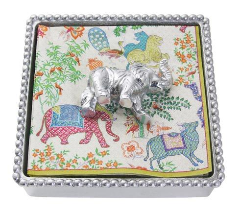 $48.00 Elephant Beaded Napkin Box