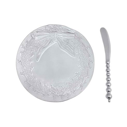 $49.00 Wreath Ceramic Canape Plate with Beaded Spreader