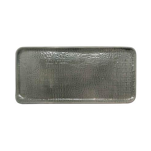 $89.00 Gray Crocodile Ceramic Rectangular Platter