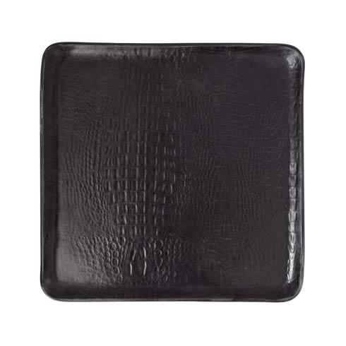 $159.00 Black Crocodile Ceramic Large Square Plater
