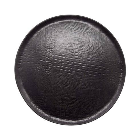 $189.00 Black Crocodile Ceramic Round Platter