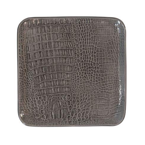 $75.00 Gray Crocodile Ceramic Small Square Plate