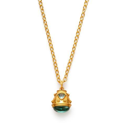 $355.00 Byzantine Pendant, Aquamarine Blue