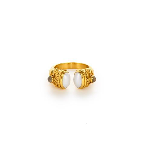 $155.00 Savannah Ring, Pearl and Labradorite, Size 8/9
