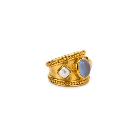 $168.00 Siena Cocktail Ring, Chalcedony Blue/Pearl