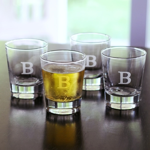 $54.95 Engraved Tapered Double Old Fashion, Set of 4