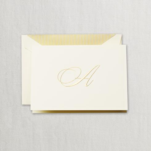 """$24.95 Gold Hand Engraved """"A"""" Initial Notes on Ecruwhite Kid Finish Paper"""