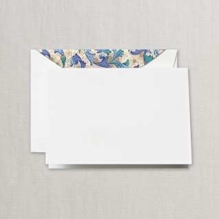$21.95 Blue Florentine Notes on Pearl White Kid Finish Paper (10) Cards & Envelops