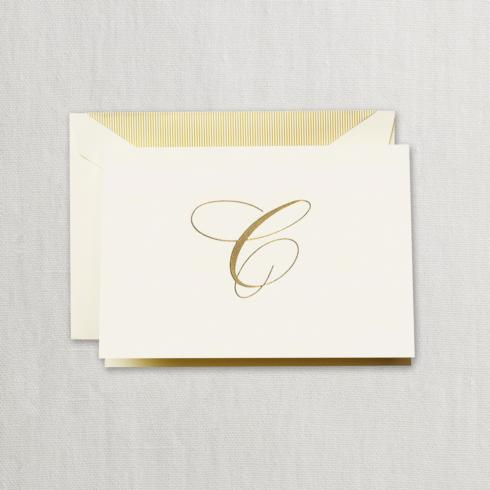 """$24.95 Gold Hand Engraved """"C"""" Initial Notes on Ecruwhite Kid Finish Paper"""