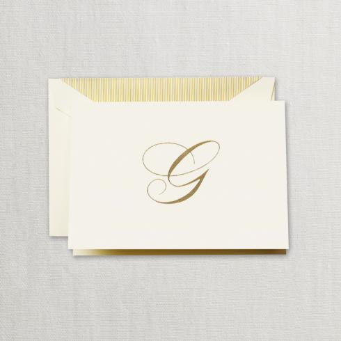 """$24.95 Gold Hand Engraved """"G"""" Initial Notes on Ecruwhite Kid Finish Paper"""