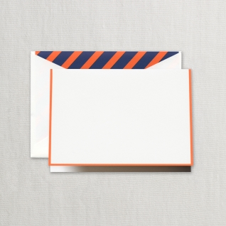 $20.95 Clementine Bordered Notes on Pearl White Kid Finish Paper (10) Cards & Envelops