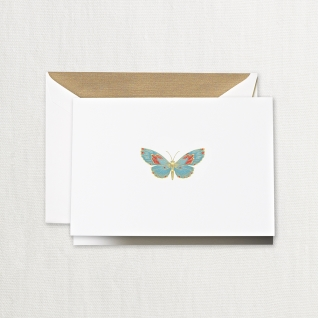 $32.95 Engraved Butterfly Notes on Pearl White Kid Finish Paper (10) Cards & Envelops