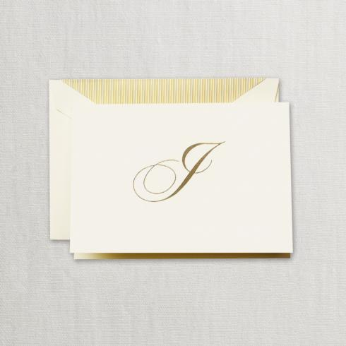 """$24.95 Gold Hand Engraved """"I"""" Initial Notes on Ecruwhite Kid Finish Paper"""