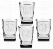 $60.00 Sterling Double Old Fashion Monogrammed - Clear, Set of 4