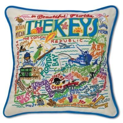 $184.00 Florida Keys Hand-Embroidered Pillow