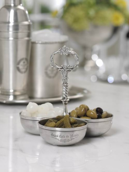$49.00 Grand Cafe\' du Moulin Pewter Three Section Server