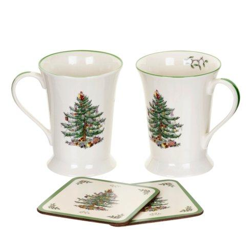 $17.50 Christmas Tree Mugs & Coasters - Set of 2