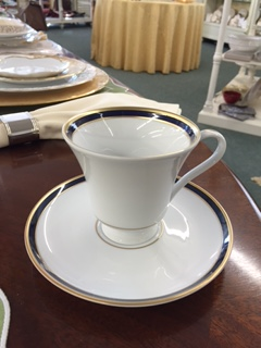 $112.00 Signature Margaret Style Cup & Saucer with Navy and Gold Band - No Monogram