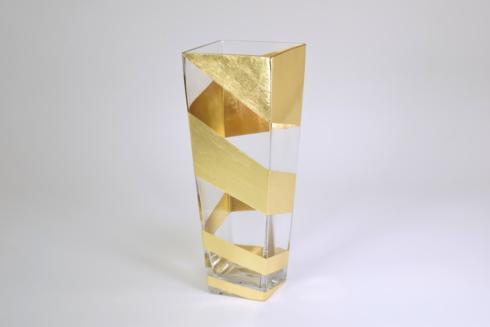 "$98.00 Gold Slash Tall Vase 12"""