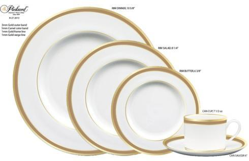 $51.00 Pickard Camel Rim Signature White Salad Plate Gold