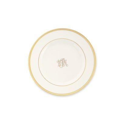 $43.00 Signature Ivory with Gold Monogrammed Bread and Butter Plate