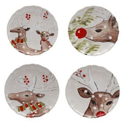 $108.00 Casafina - Deer Friends Salad Plates (White) Set4