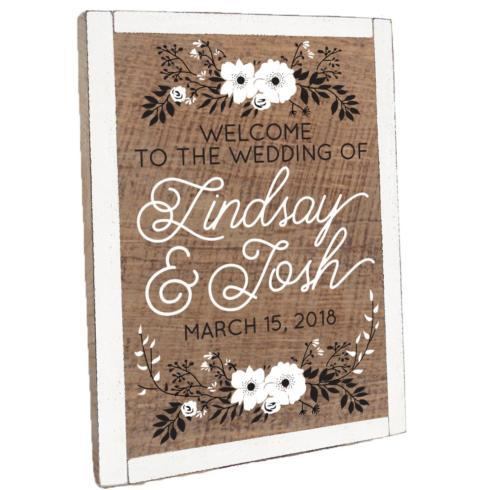 $235.00 Personalized Floral Welcome Vintage Plank Framed - Natural