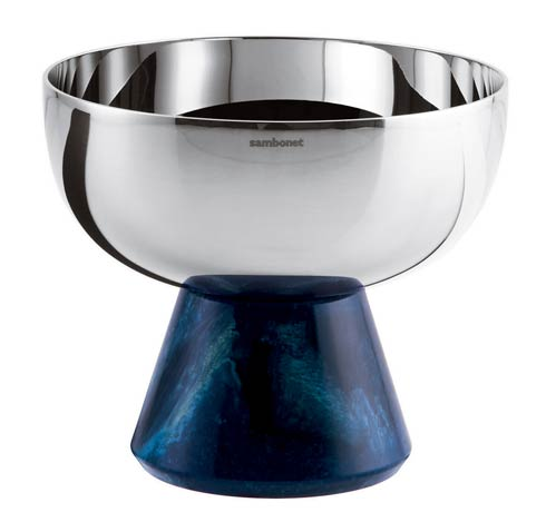 $145.00 Footed Cup S/steel/Blue Resin 4 1/4 in H 3 3/4 in