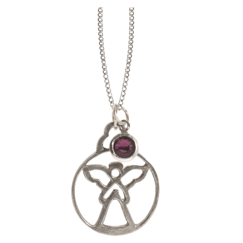 $15.00 Birthstone Angel Pendant - February