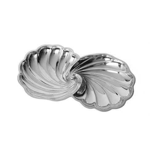 "$72.00 Double Shell-Shaped Bowl, 13 ½"" x 7"""
