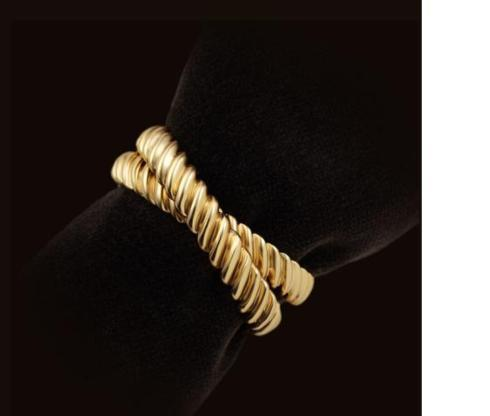 $125.00 24K GOLDPLATED SET OF FOUR DECO TWIST NAPKIN RINGS