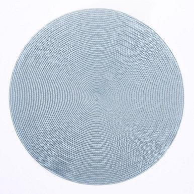 $28.00 Deborah Rhodes Round Scallop Placemat Silver 2 Tone Silver/Aqua