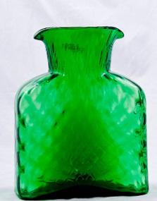 """$69.00 Blenko Diamond Optic Water Bottle Clover  8"""" Tall  36Oz"""