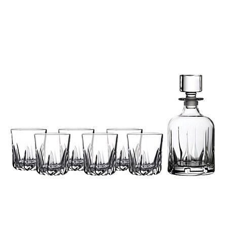 $100.00 Mode whiskey decanter and six tumbler set