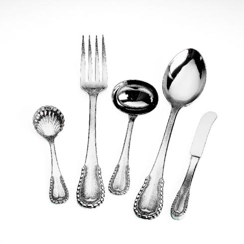 $130.00 Merletto Stainless 5 Piece Hostess Set(Sugar,Meat Fork, Ladle, Tablespoon , Butter Knife)