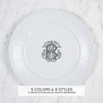 """$58.00 Weave White 10.25"""" Dinner Plate With Monogram"""