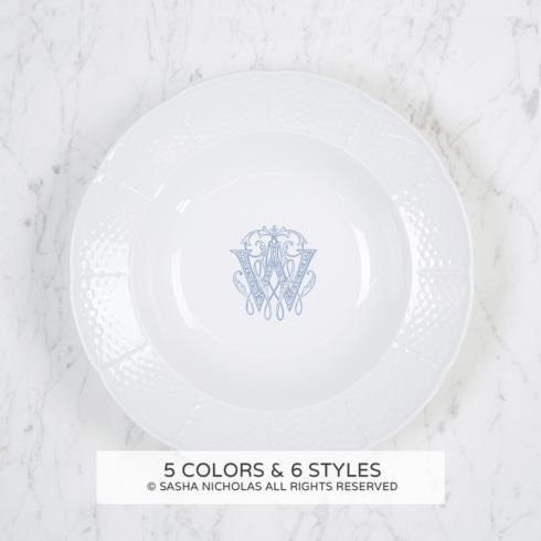 $52.00 Weave White Monogrammed Rim Soup Bowl