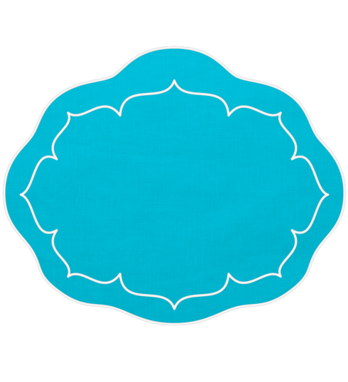 $100.00 Oval Linen Mat Turquoise - Set of 4