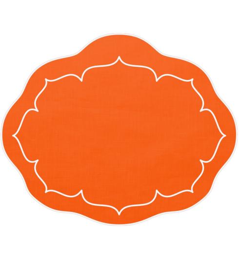 $100.00 Oval Linen Mat Orange - Set of 4