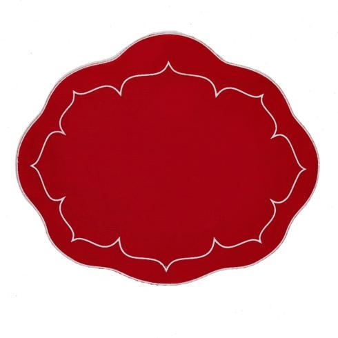 $100.00 Oval Linen Mat Red Red - Set of 4