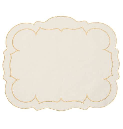 $100.00 Rectangular Linen Mat Ivory w/ Gold - Set of 4