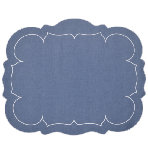 $100.00 Rectangular Linen Mat Blue - Set of 4
