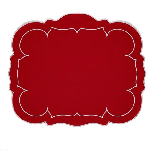 $100.00 Rectangular Linen Mat Red Red - Set of 4