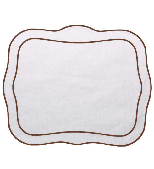 $100.00 Patrician Linen Mat Ivory w/ Brown - Set of 4