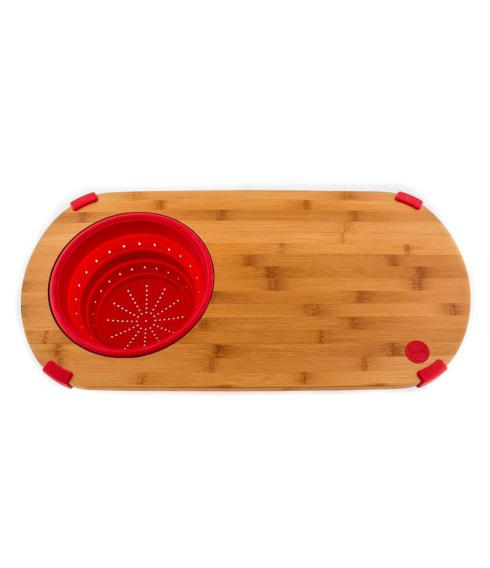 $38.50 Fiesta Bamboo cutting board with collapsible colander