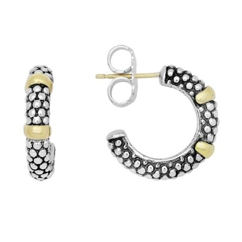 $350.00 Caviar Beaded Hoop With Gold