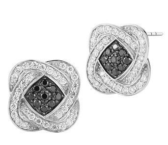 $1,317.00 Black and White Diamond Earrings